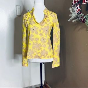 Tory Birch Cotton Yellow and Tan Top. Size 4